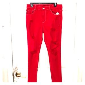 GARAGE Red Retro Jeggings